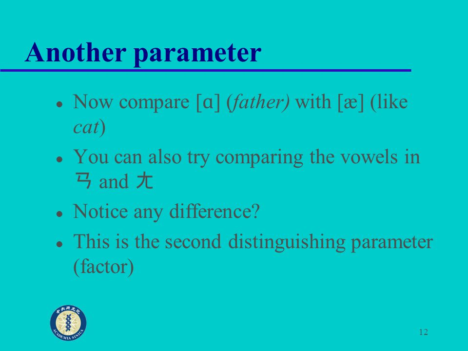 Another parameter Now compare [ɑ] (father) with [æ] (like cat)